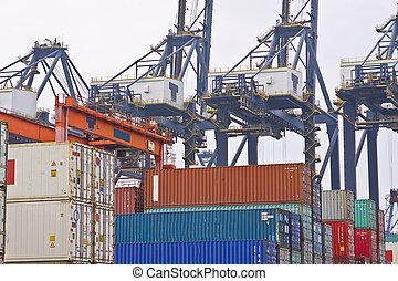 倉庫, 港口, 容器