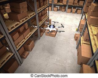 倉庫, 無人機, 3d