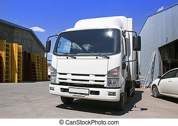 倉庫, 白, トラック, 建物