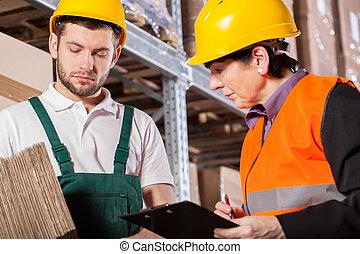 倉庫, 相談, 労働者, マネージャー