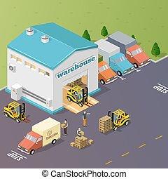 倉庫, 矢量, illustration.