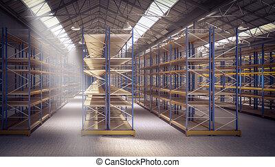 倉庫, 空, 3d