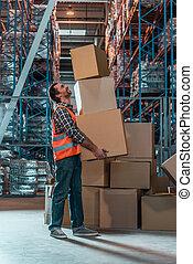 倉庫, 箱, 労働者