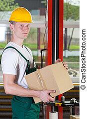 倉庫, 箱, 労働者, 保有物