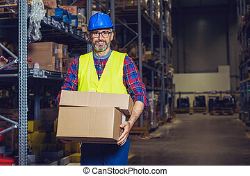 倉庫, 箱, 置くこと, 労働者, ボール紙