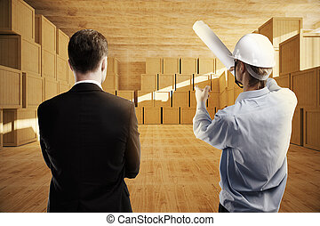倉庫, 論じる, 男性, デザイン