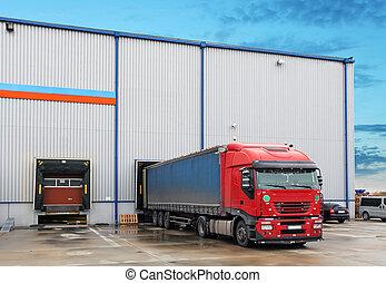 倉庫, 貨物, 卡車, 建築物