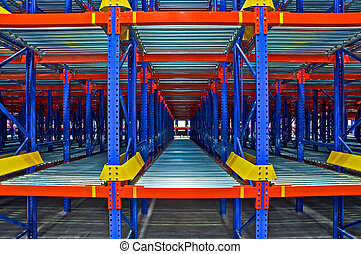 倉庫, 貯蔵, 棚, システム
