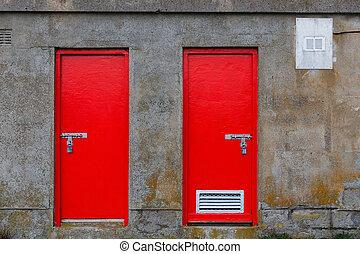 倉庫, 赤, ドア