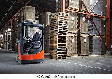 倉庫, 運転手, リーチ, トラック