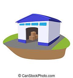 倉庫, 開いているドア, 漫画, アイコン