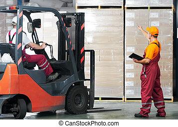 倉庫, (forklift, 仕事, workers)