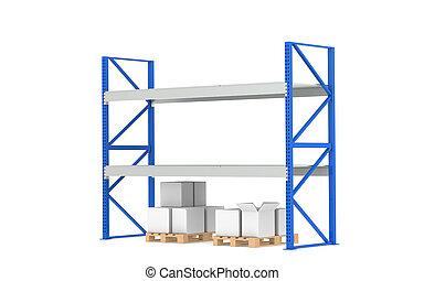 倉庫, shelves., 低い, 株, level., 別れなさい, a, 青, 倉庫, そして, ロジスティクス, series.