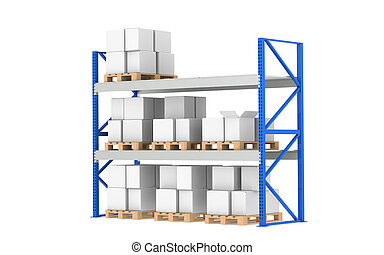 倉庫, shelves., 媒介, 股票, level., 分開, a, 藍色, 倉庫, 以及, 后勤學,...