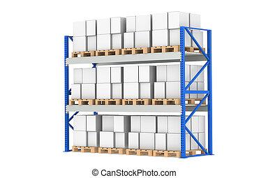 倉庫, shelves., 扁平工具, 架子, full., 被隔离, 上, white., 分開, a, 藍色,...