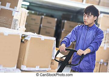 倉庫, stacker, フォークリフト, 労働者, 中国語