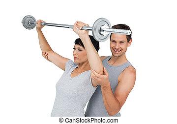 個人的な トレーナー, 重量挙げ, 女, 助力, バー