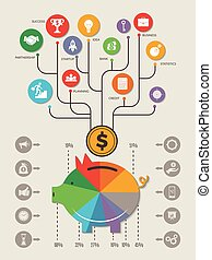 個人的, ビジネス, ベクトル, テンプレート, 家, 投資, infographic., お金, を除けば, 豚, 現金, 銀行