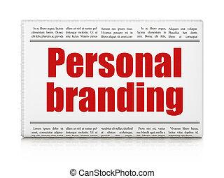 個人的, マーケティング, 見出し, 決め付けること, 新聞, ニュース, concept: