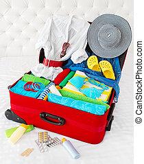 個人的, 旅行, 休暇, スーツケース, 所有物, パックされた