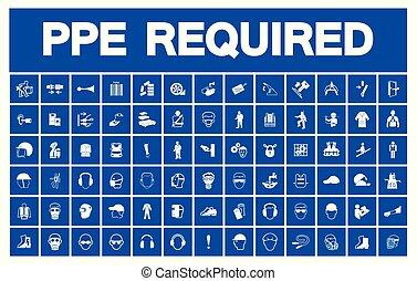 個人的, 装置, シンボル, 保護である, (ppe), required, アイコン, 安全