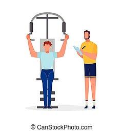個人的, 試し, ウエートトレーニング, 装置, isolated., ジム, ベクトル, イラスト