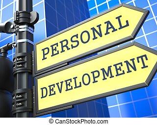 個人的, 開発, concept., 教育, roadsign.