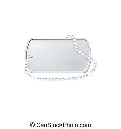 個人的, dogtag, 軍, pendant., タグ, 犬, 銀, label., id, necklace.