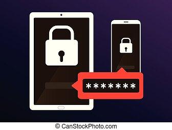 個人電腦, 密碼, smartphone, 片劑, 形式