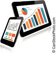 個人電腦, smartphone, 圖表, 片劑, 統計數字