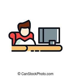 個人, 書桌工作, 圖象