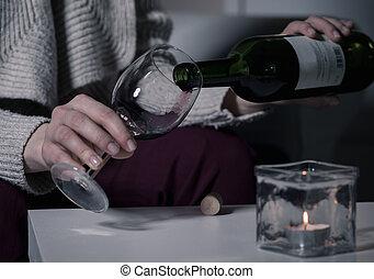 倒酒, 進, a, 玻璃