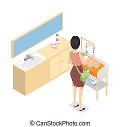 候診室, 在, 購物中心, 或者, 門診部, 內部