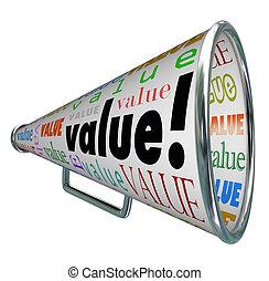 値, bullhorn, 貴重である, 宣伝しなさい, メガホン, 品質