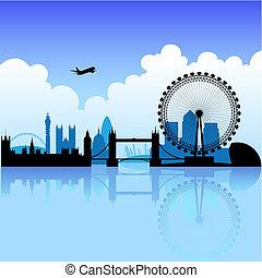 倫敦, 上, a, 明亮, 天