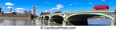 倫敦, 全景, 由于, 紅色, 公共汽車, 上, 橋梁, 針對, 大本鐘, 在, england, 英國