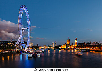 倫敦, 地平線, 由于, 威斯敏斯特 橋梁, 以及, 大本鐘, 在, the, 晚上, 英國