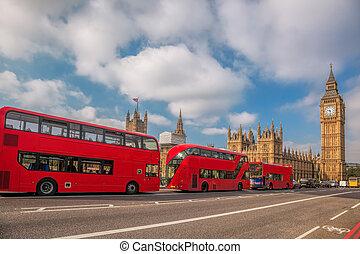 倫敦, 由于, 紅色, 公共汽車, 針對, 大本鐘, 在, england, 英國