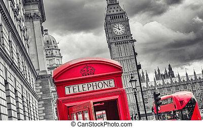 倫敦, 符號, 由于, 大本鐘, 雙層公共汽車, 以及, 紅的電話, 布斯