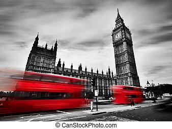 倫敦, the, uk., 紅色, 公共汽車, 以及, 大本鐘, the, 宮殿, ......的, westminster., 黑色 和 白色