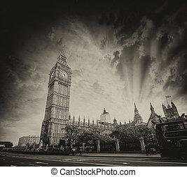 倫敦, uk., 威斯敏斯特宮殿, 在, 傍晚, 由于, 紅色, 雙甲板