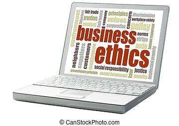倫理, 単語, ビジネス, 雲