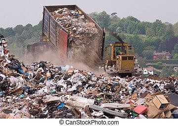 倾倒, landfill, 垃圾, 在上, 尖端