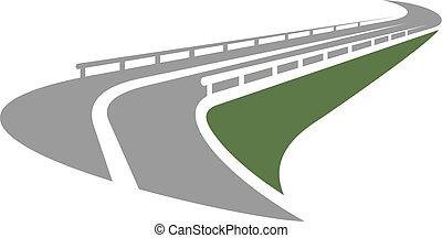倾斜, guardrails, 通过, 边缘, 道路