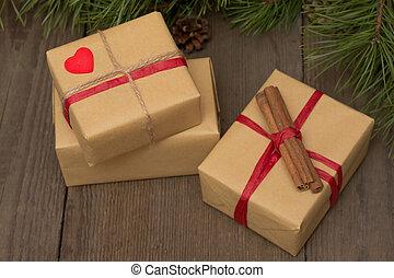假日, 作品, 带, 三, 礼物, 肉桂, 同时,, fir树, 在上, 木制, 背景, 在中, 葡萄收获期, 风格