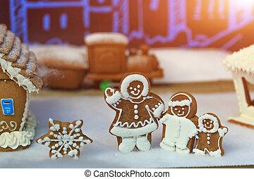 假期, 冬天, concept., 人們, 姜餅