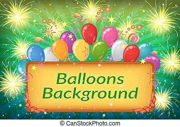 假期, 气球, 背景