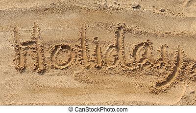 假期, -, 沙子, 寫, 在海灘上