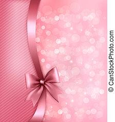 假期, 粉紅背景, 由于, old_paper, 以及, 禮物弓, 以及, ribbon., 矢量
