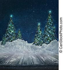 假期, 背景, 雪, 樹, 聖誕節